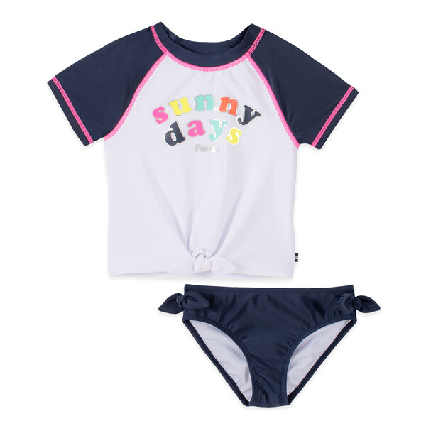 GIRLS' SUNNY DAYS GRAPHIC TIE-FRONT RASHGUARD SET (8-20) - Navy