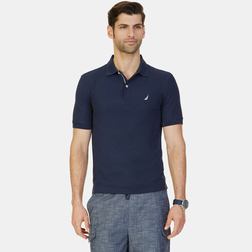 Big & Tall Short Sleeve Classic Fit Pique Deck Polo - Navy