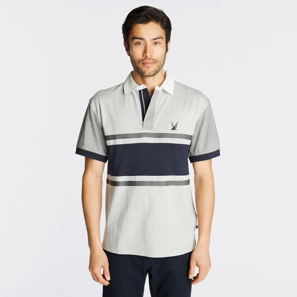 CLASSIC FIT COLORBLOCK STRIPE POLO - Grey Heather