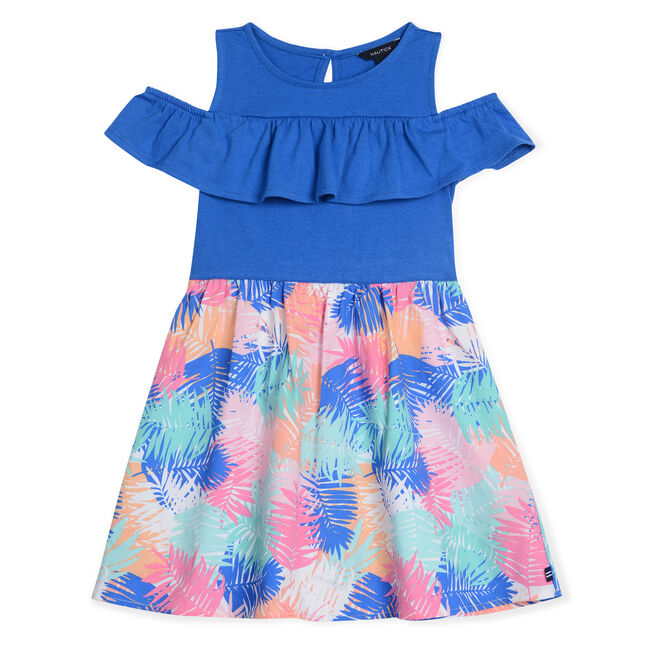 Little Girls' Fit & Flare Dress in Palm Print (4-7),Angel Blue,large