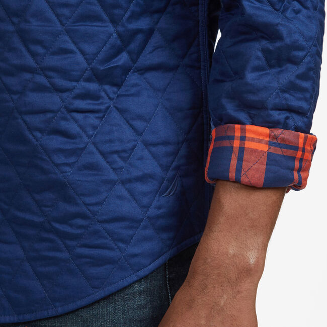 Quilted Plaid Twill Classic Fit Long Sleeve Shirt,Orange Poppy,large