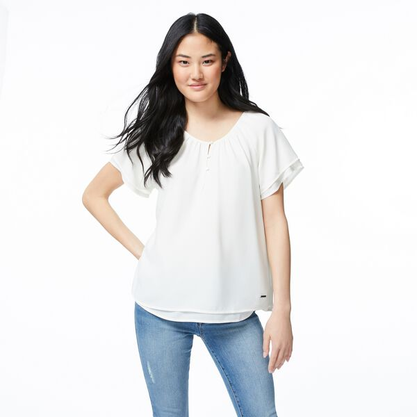 CHIFFON RAGLAN SLEEVE TOP - Marshmallow