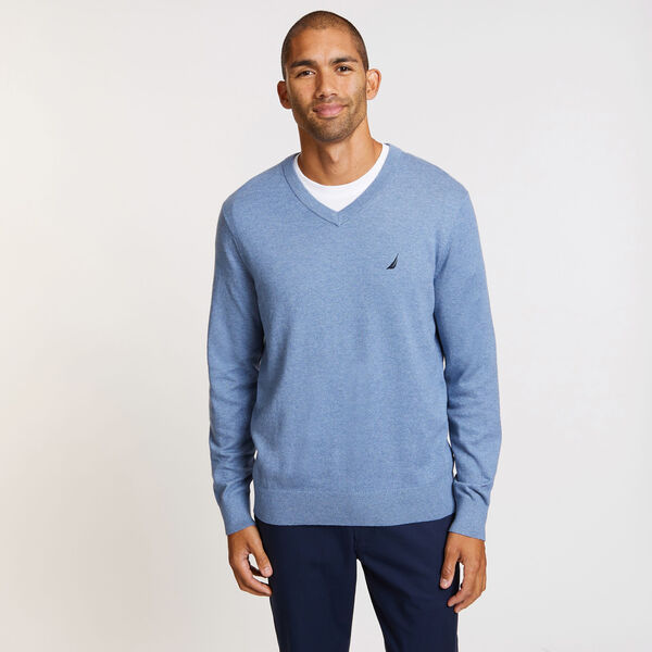Big & Tall Jersey V-Neck Sweater - Anchor Blue Heather