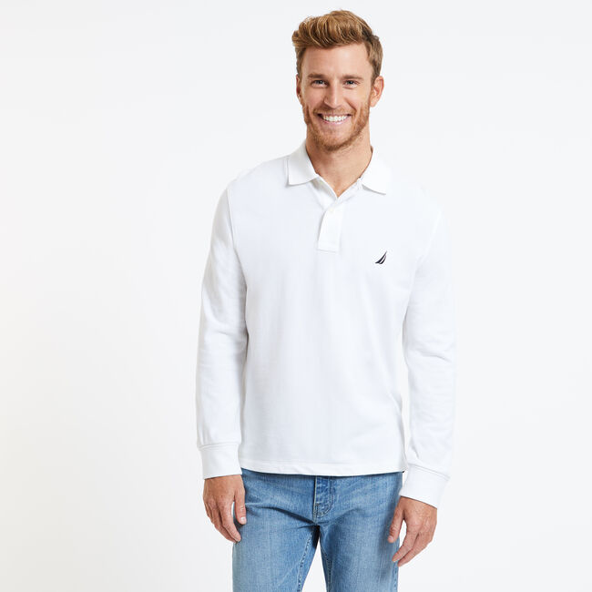 Long Sleeve Solid Classic Fit Pique Polo,Bright White,large