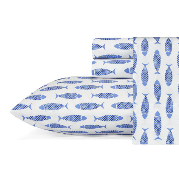 Woodblock Fish Blue Sheet Set - Azure Blue
