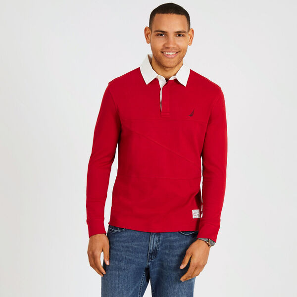 Long Sleeve Classic Fit Shipman Polo - Rescue Red