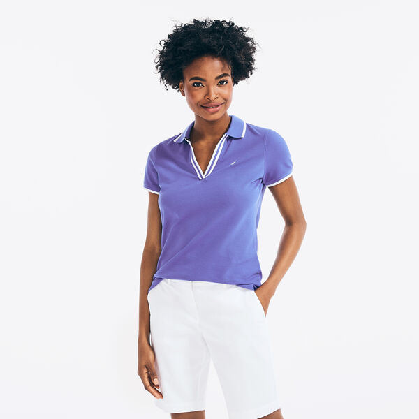 SUSTAINABLY CRAFTED CONTRAST-TRIM SPLIT-NECK POLO - Cobalt Wave