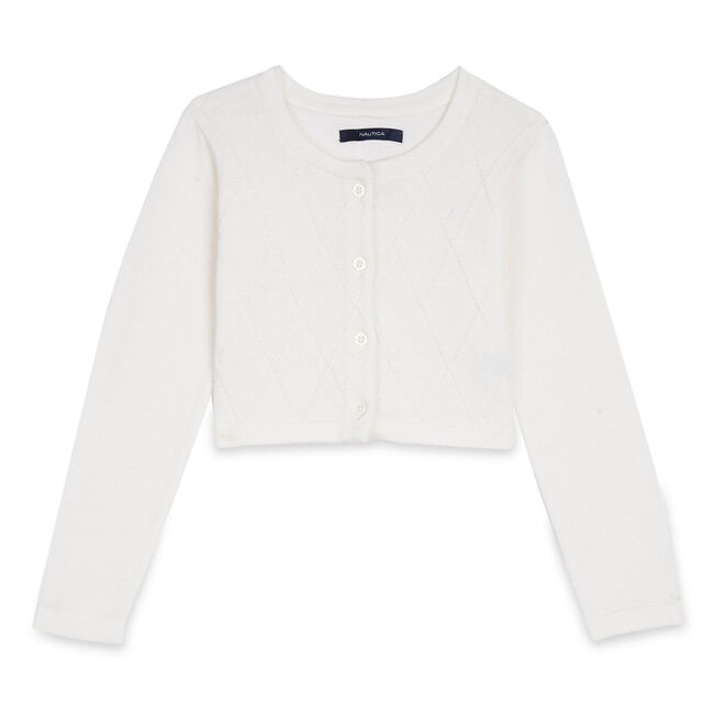 Toddler Girls' Cropped Cardigan (2T-3T),Bright White,large