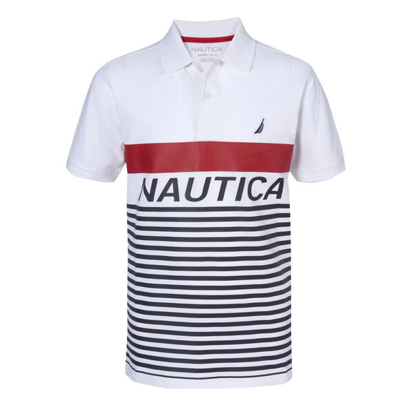 BOYS' RICKIE STRIPE HERITAGE POLO (8-20) - Antique White Wash