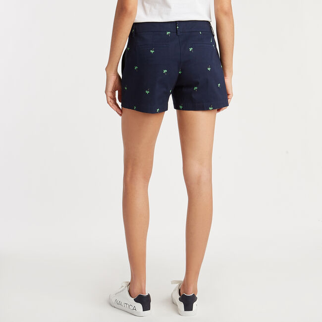 Pleat Front Twill Short in Palm Tree Print,Stellar Blue Heather,large