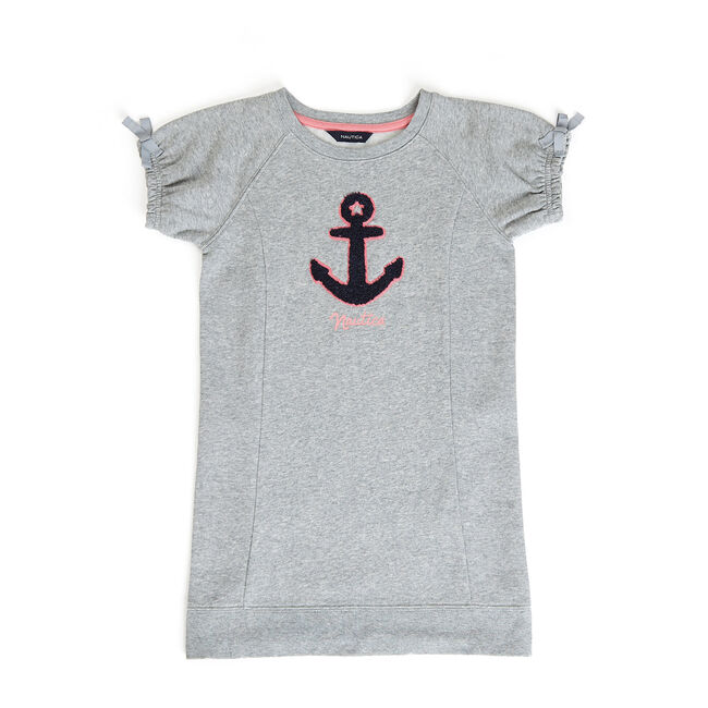 Toddler Girls' Chest Anchor Sweatshirt Dress (2T-4T),Grey Heather,large
