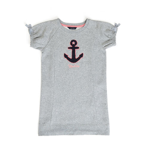 Girls' Chest Anchor Sweatshirt Dress (7-16) - Grey Heather