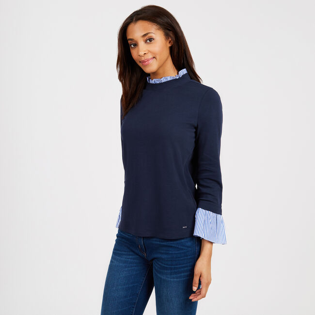Crewneck Long Sleeve Top with Striped Cuffs,Deep Sea,large