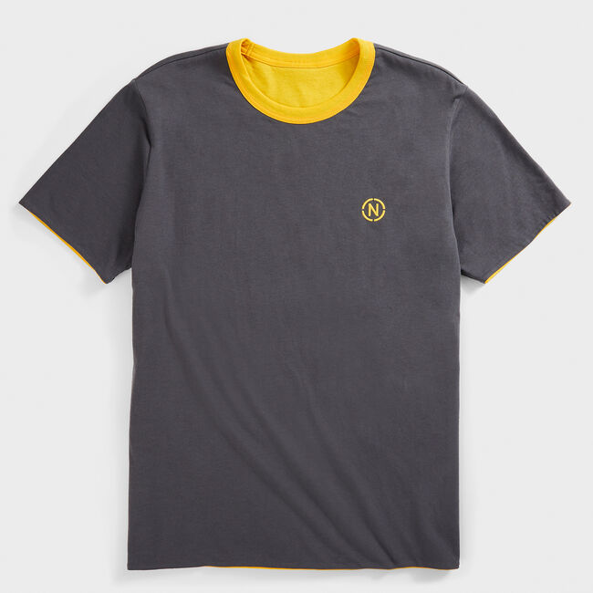 NAUTICA JEANS CO. SUSTAINABLY CRAFTED REVERSIBLE GRAPHIC T-SHIRT,Old Gold,large