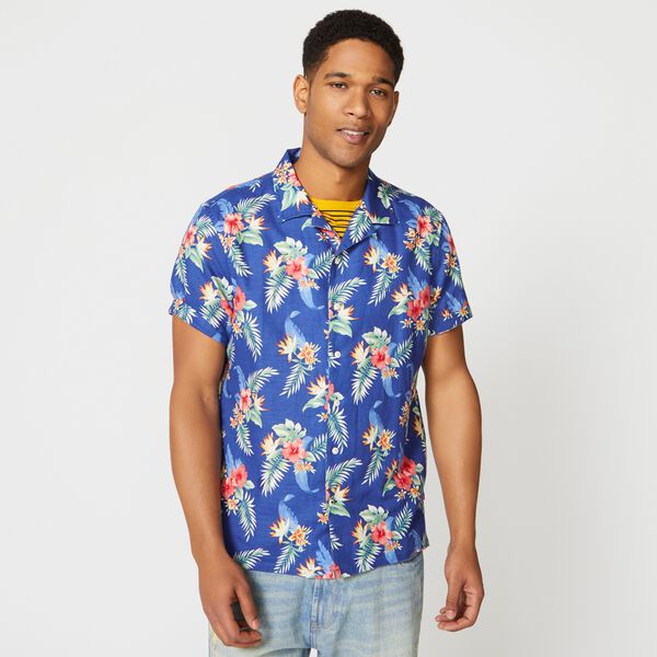 CLASSIC FIT TROPICAL FLORAL PRINT CAMP SHIRT - Limoges