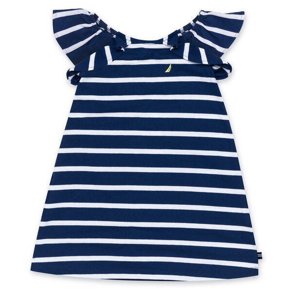 Girls' Stripe Dress With Ruffles - Aqua Isle