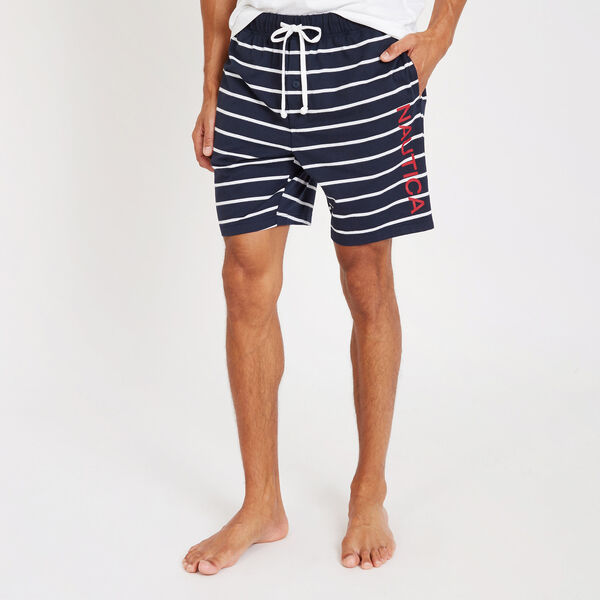 Yarn Dyed Stripe Jersey Lounge Shorts - Navy