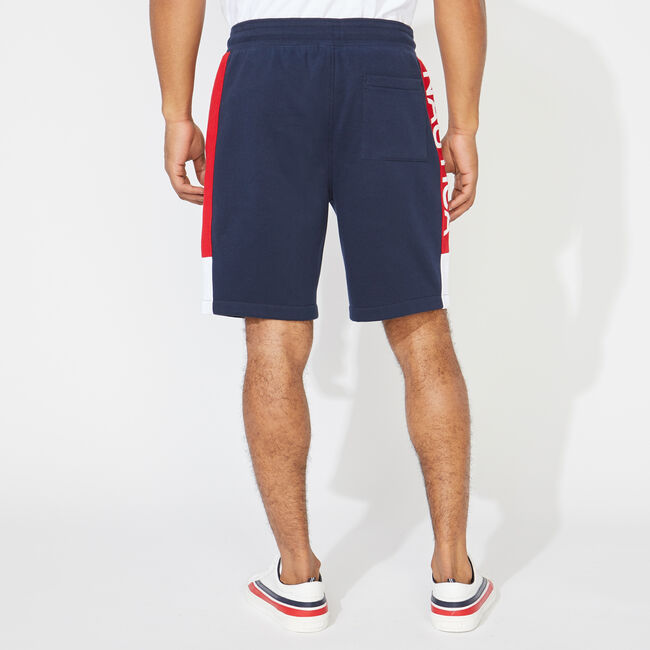 COLORBLOCK LOGO KNIT SHORTS,Navy,large