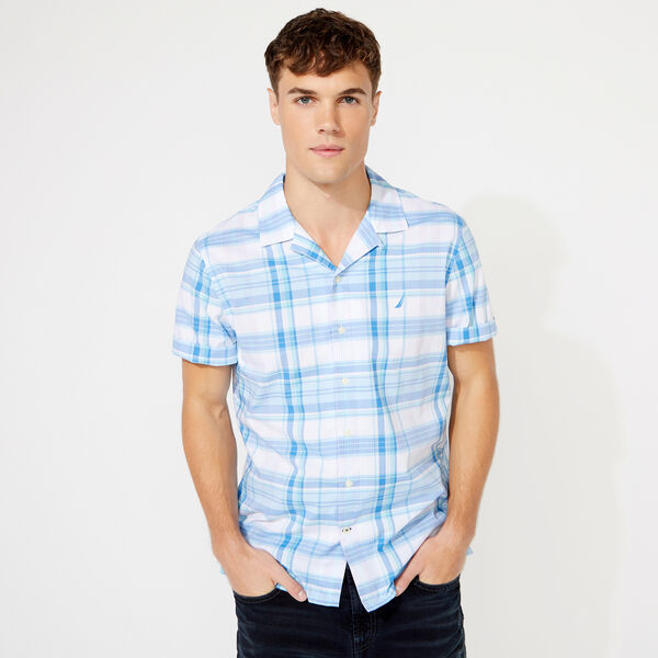 CLASSIC FIT SHIRT SLEEVE PLAID SHIRT - Clear Sky Blue