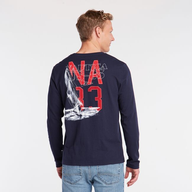 N83 YACHTING LONG SLEEVE GRAPHIC T-SHIRT,Navy,large