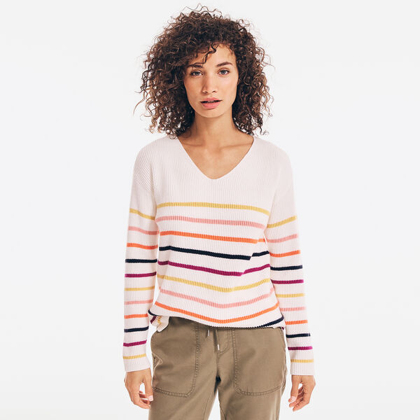 SUSTAINABLY CRAFTED STRIPED V-NECK SWEATER - Marshmallow