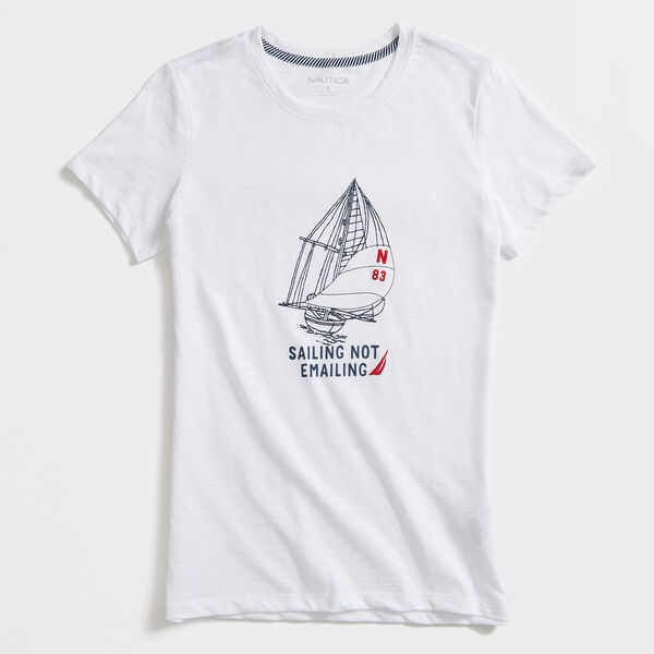 SAILING NOT E-MAILING T-SHIRT - Bright White