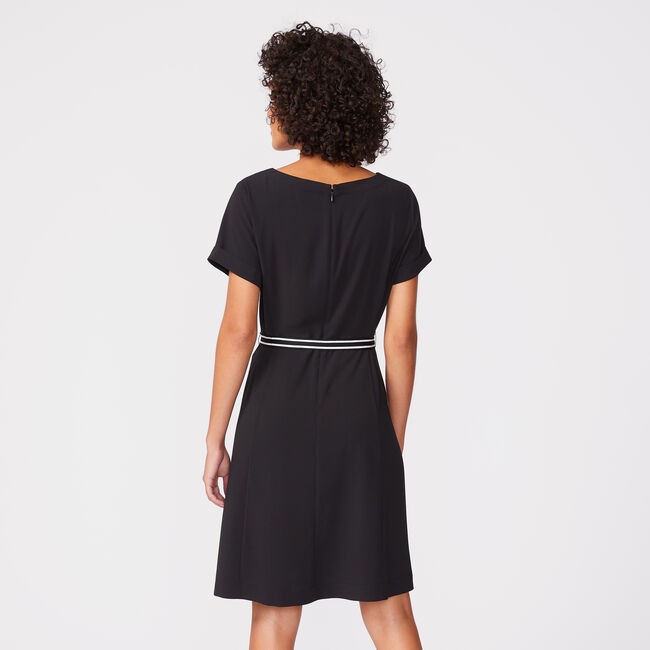BUTTON WRAP TIE-BELT DRESS,True Black,large