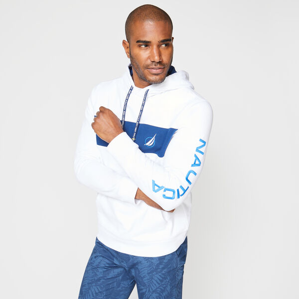 CLASSIC FIT COLORBLOCK LOGO HOODIE - Bright White