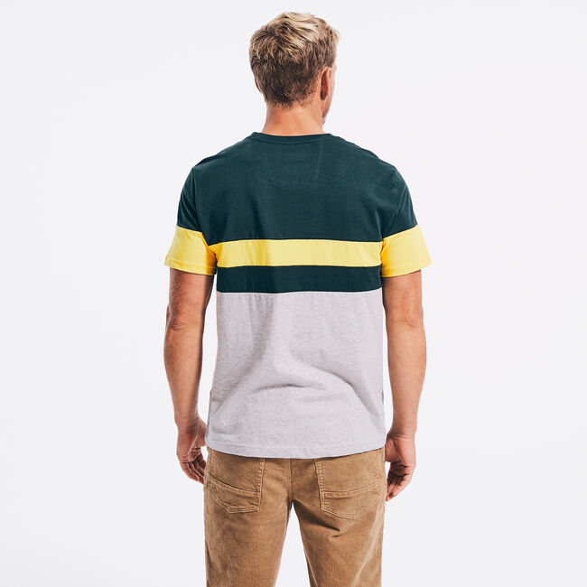 COLORBLOCK PIECED T-SHIRT,Green,large