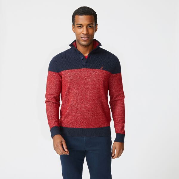 SUSTAINABLY CRAFTED COLORBLOCK SWEATER - Lotus