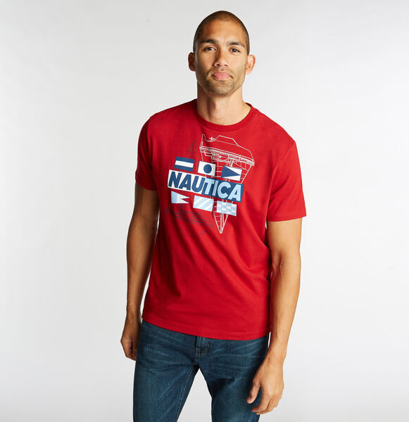 JERSEY T-SHIRT IN BOAT & FLAG GRAPHIC - Nautica Red
