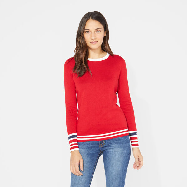 LONG SLEEVE COLORBLOCK SPORTY PULLOVER SWEATER - Cranberry