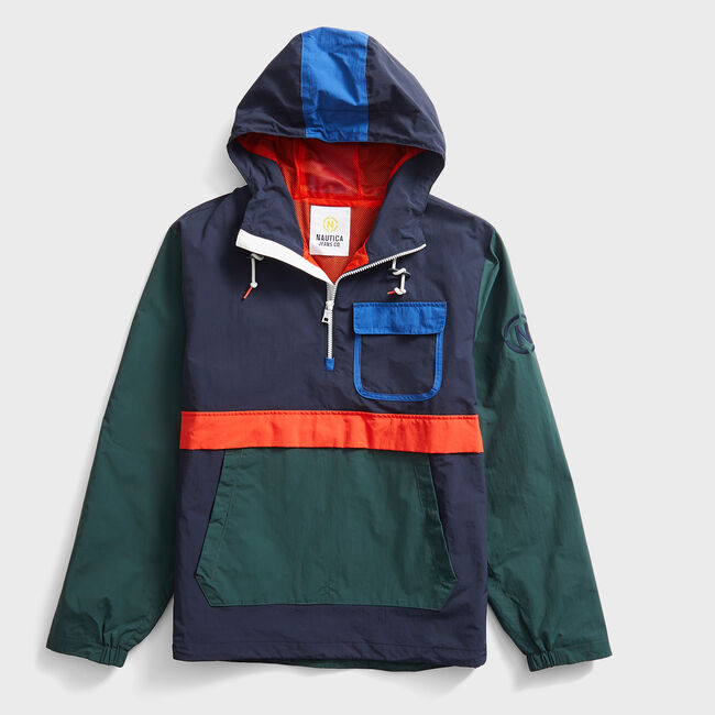 NAUTICA JEANS CO. COLORBLOCK LIGHTWEIGHT JACKET,Navy,large