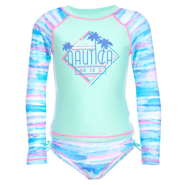 LITTLE GIRLS' WATERCOLOR PRINT RASH GUARD (4-7) - Jade Forest Heather