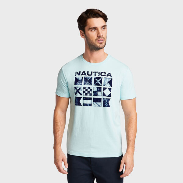Cross Hatch Flags Short Sleeve T-Shirt - Medallion Blue