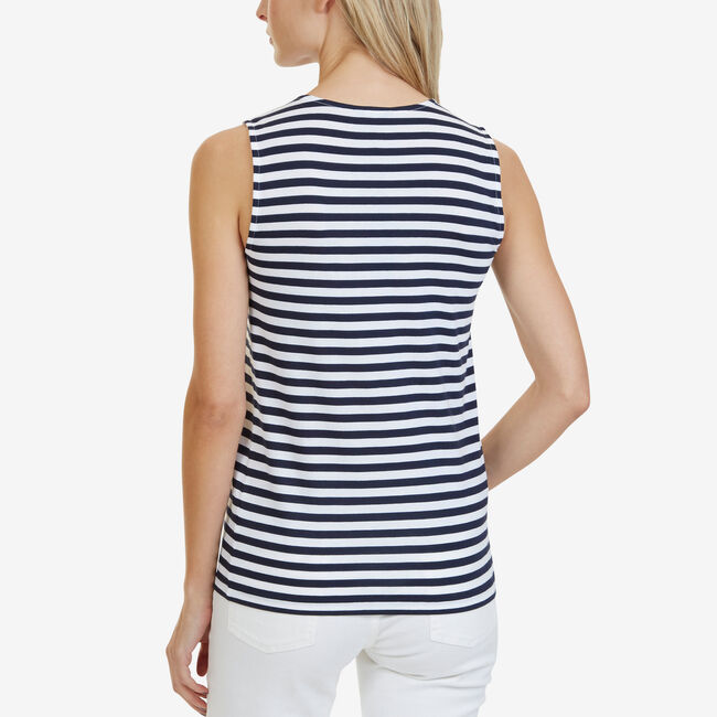 Sleeveless Striped Top,Bright White,large