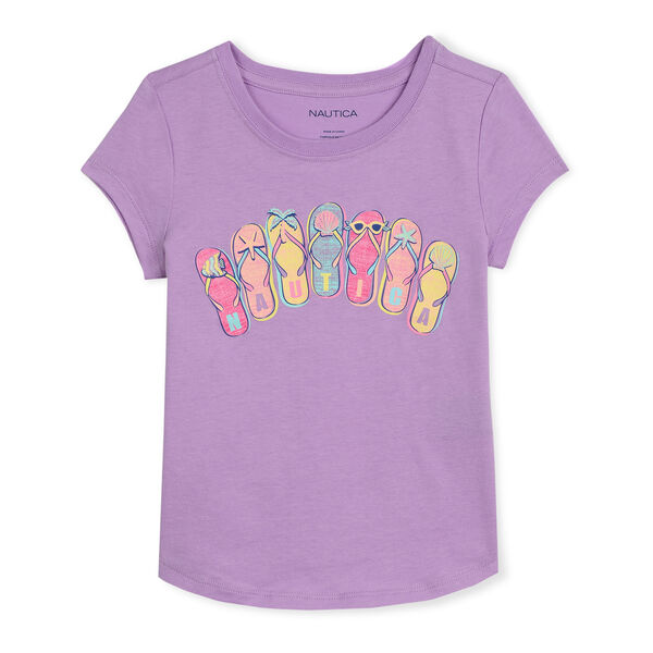 GIRLS' JERSEY T-SHIRT IN SANDALS GRAPHIC (8-20) - Tulip Pink.