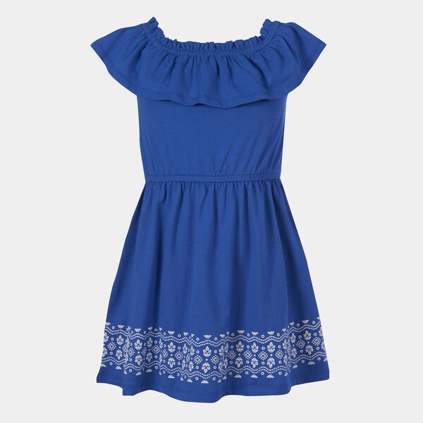 LITTLE GIRLS' RUFFLED PRINT DRESS (4-7) - Varsity Blue Wash