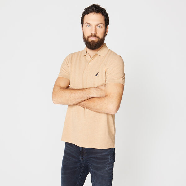 SLIM FIT DECK POLO - Camel Heather