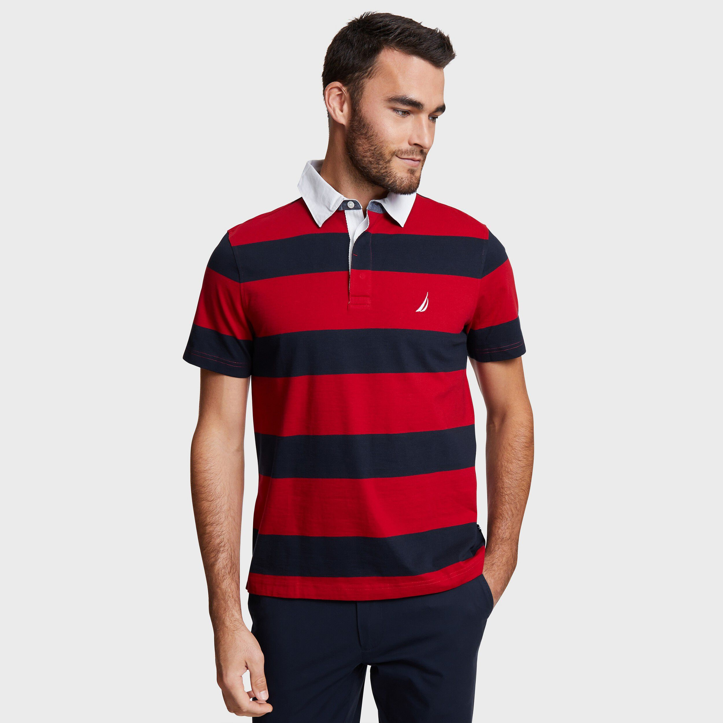 Nautica Mens Big and Tall Long Sleeve 100/% Cotton Rugby Stripe Jersey Polo Shirt