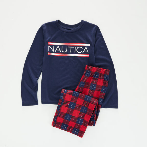 KIDS' LOGO AND PLAID FAMILY SLEEP SET - Lure Red