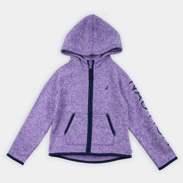 TODDLER GIRLS' LOGO HOODED NAUTEX FLEECE (2T-4T) - Purple Heather
