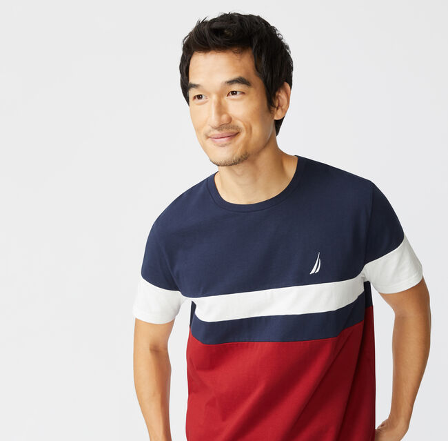 COLORBLOCK PIECED T-SHIRT,Navy,large