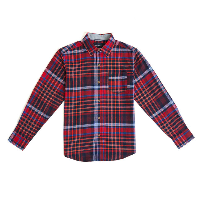 Little Boys' Moore Plaid Long Sleeve Shirt (4-7),Dark Acacia,large
