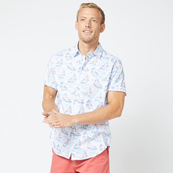 CLASSIC FIT WATERCOLOR BOAT PRINT SHIRT - Bright White