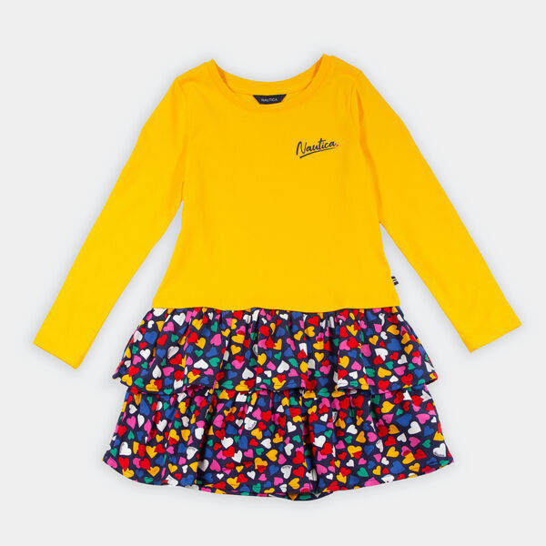TODDLER GIRLS' HEART PRINT SKIRT DRESS (2T-4T) - Gold