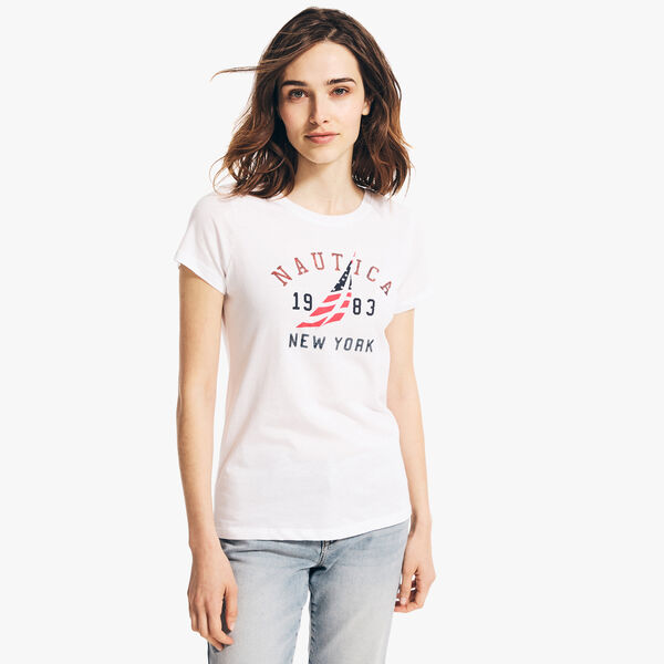NEW YORK SEQUIN T-SHIRT - Bright White