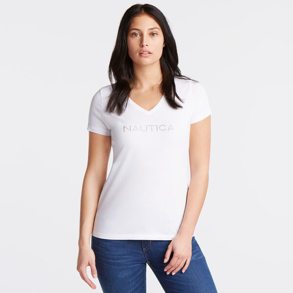 Studded Logo V-Neck T-Shirt - Bright White