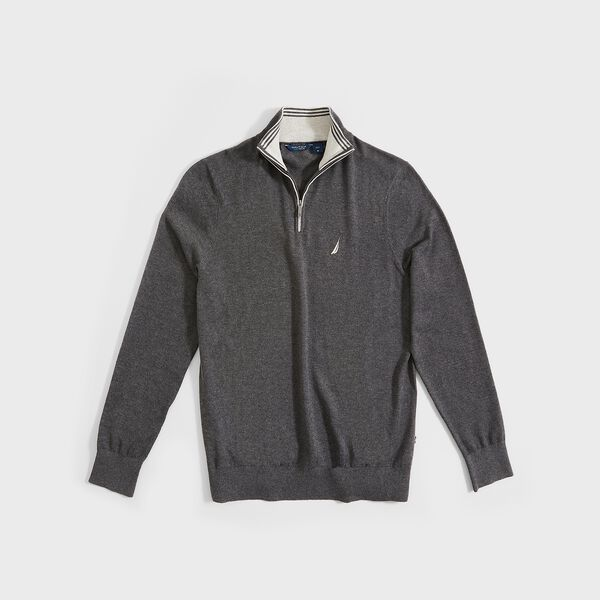 BIG & TALL NAVTECH QUARTER-ZIP SWEATER - Charcoal Heather