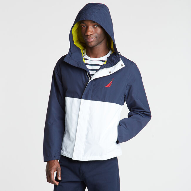 Colorblock Hooded Jacket,Navy,large